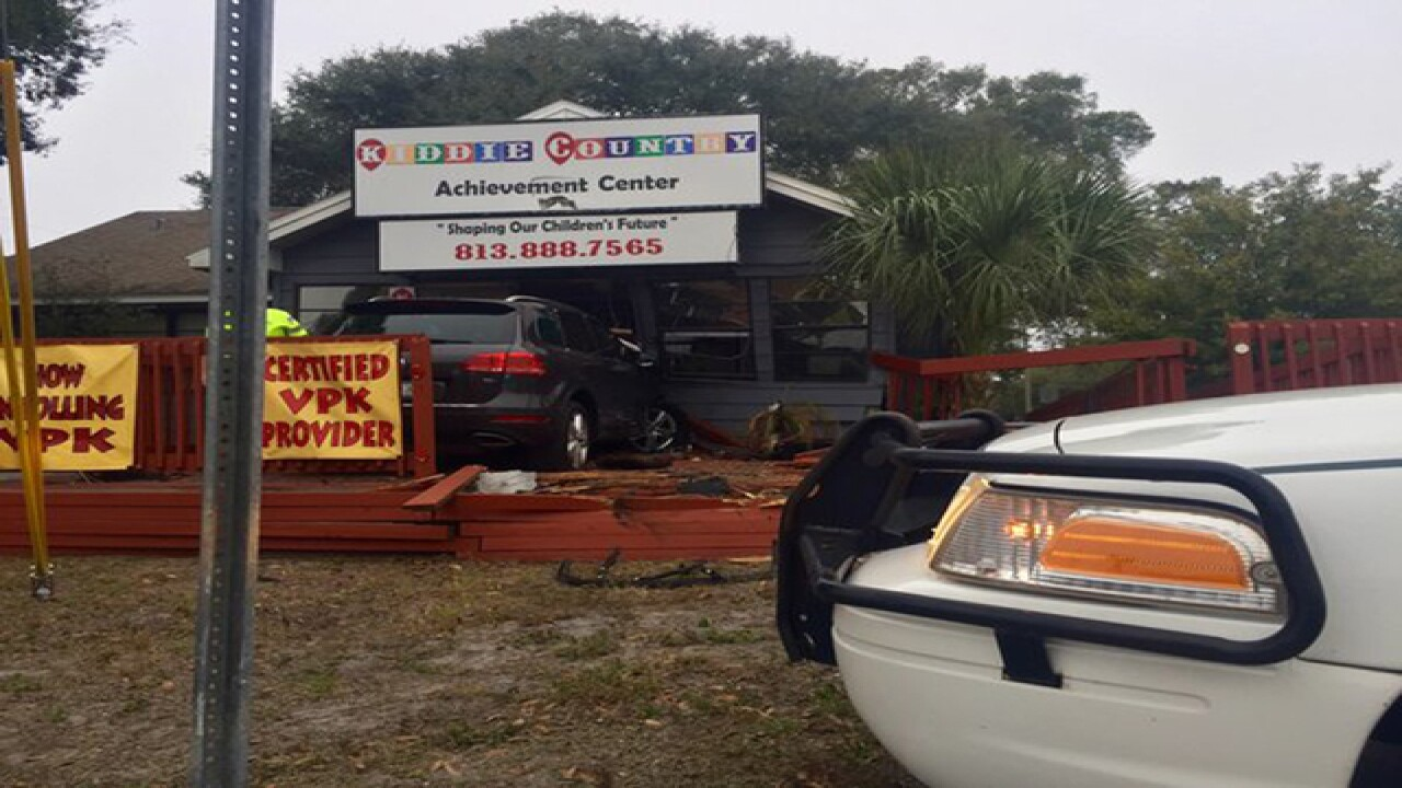 SUV loses control, slams into daycare