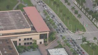 Traffic backed up on Okeechobee Boulevard in downtown West Palm Beach, Oct. 5, 2021