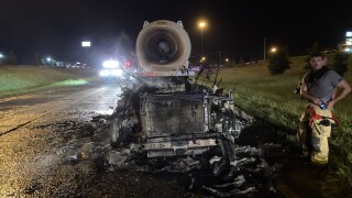FHP: Semi-truck engulfed in flames in Jackson County after filling up for gas