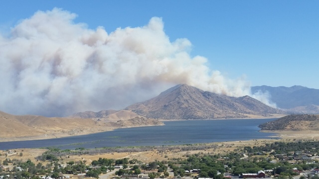 Fire burning in Lake Isabella, south of Highway