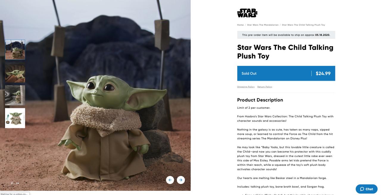 The Child Hasbro plush talking toy