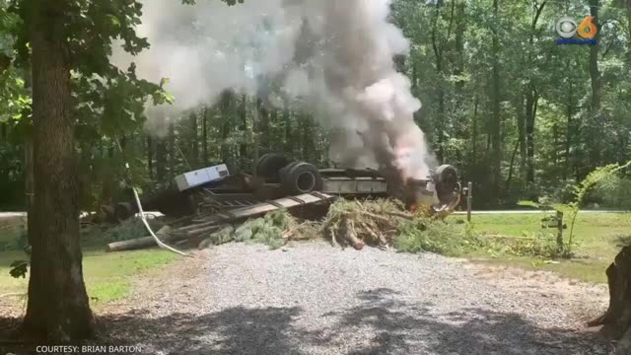 Dump truck catches fire after Chesterfieldcrash
