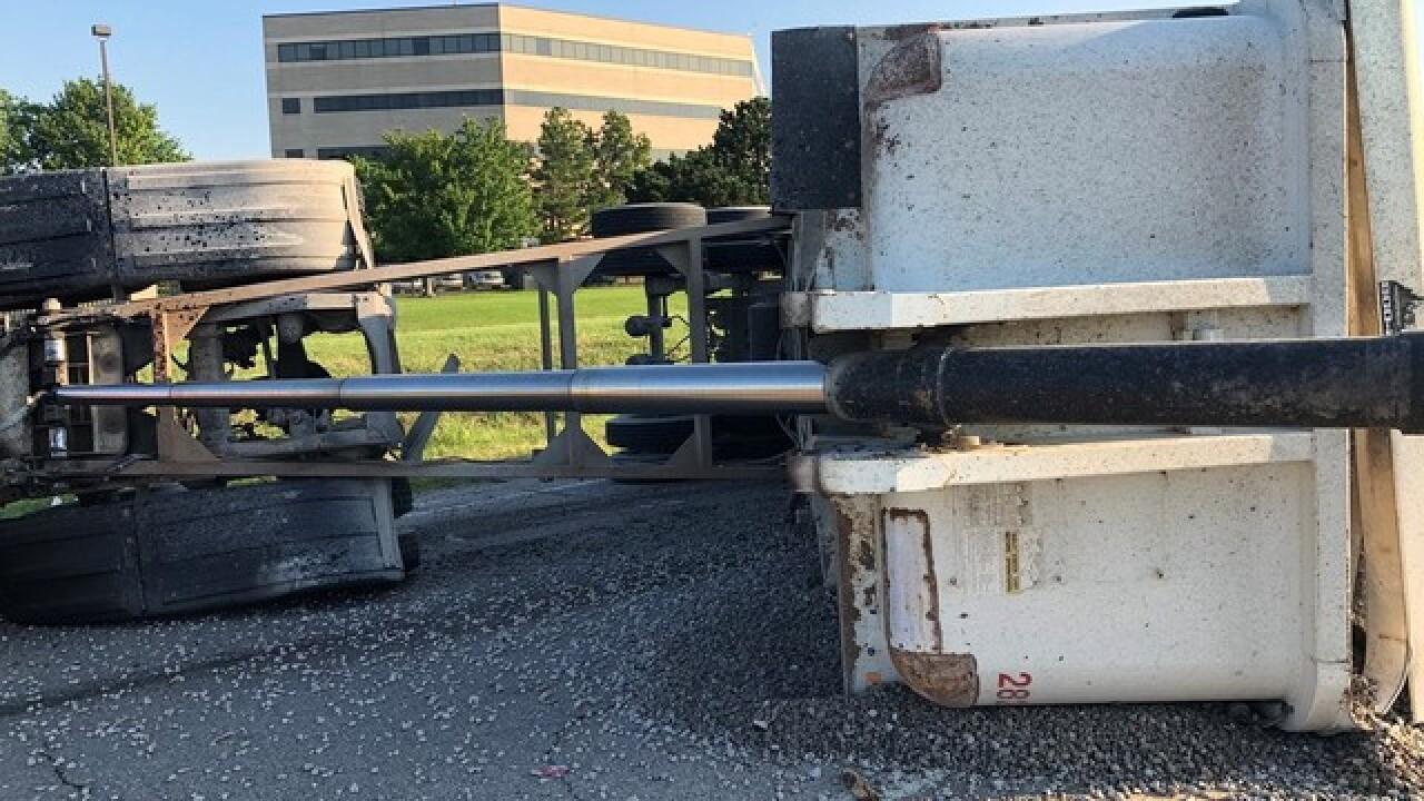 Rollover crash blocking I-44/US-169 interchange