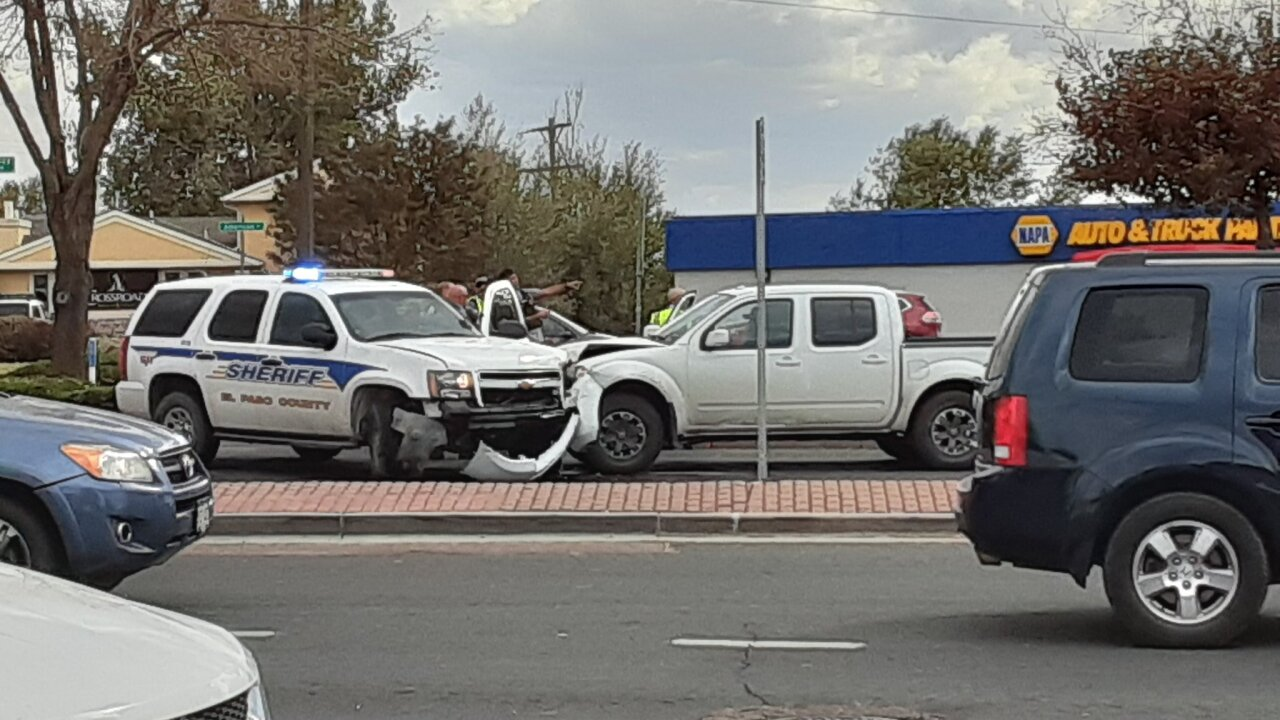 Crash during police chase on Austin Bluffs
