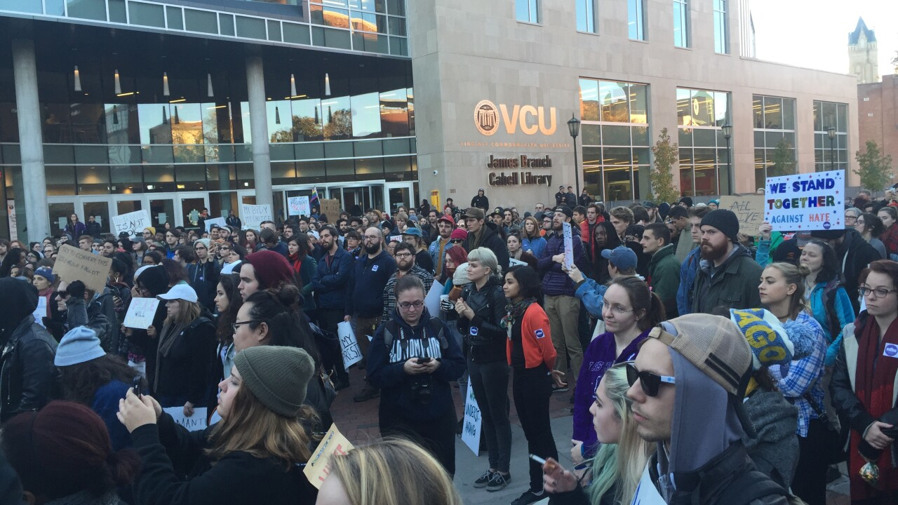Anti-Trump protesters march at VCU: 'We do not respect blatantsexism'