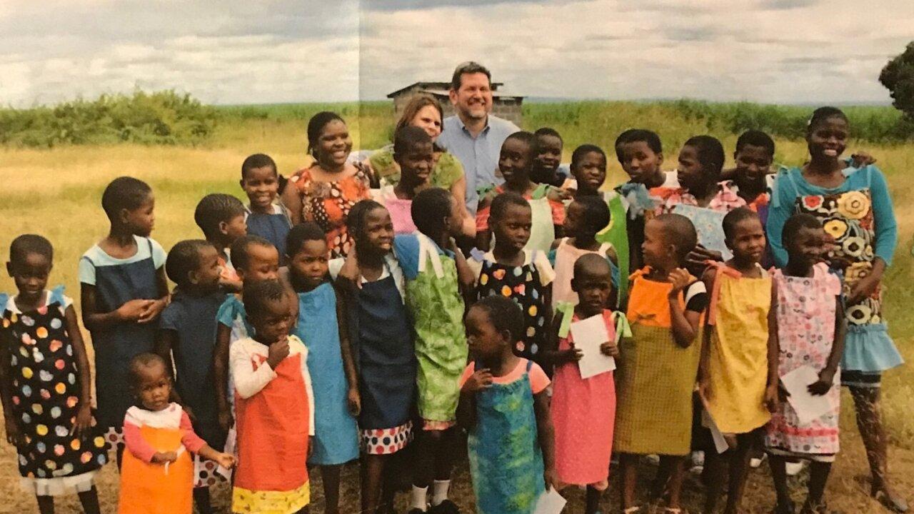 Children wearing dresses Linda helped make