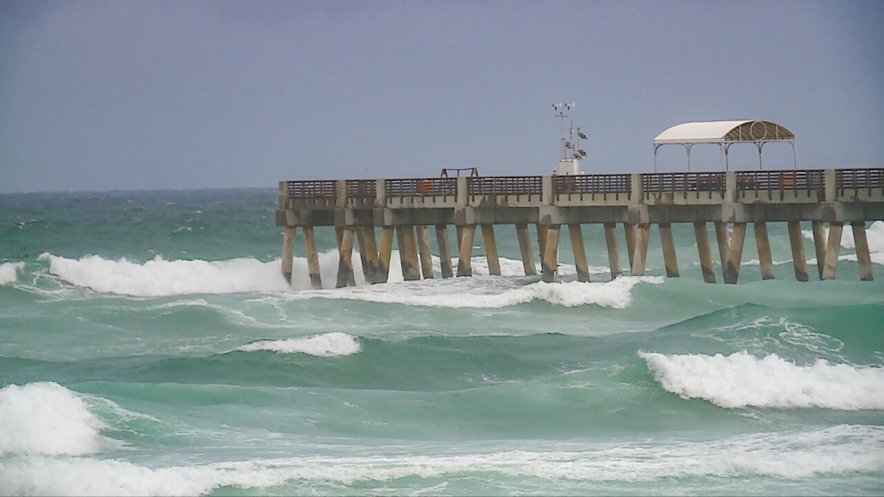 Lake Worth Beach on Saturday, August 1, 2020 as Hurricane Isaias approaches.