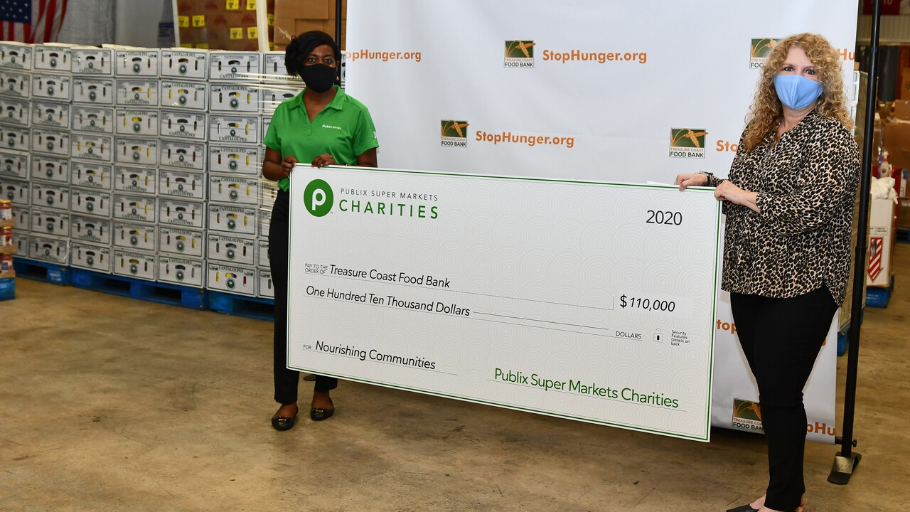 Robin Hankerson of Publix with Judy Cruz, the president and CEO of Treasure Coast FoodBank