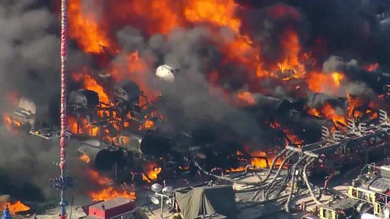 Fire burns at oil and gas site in Weld County