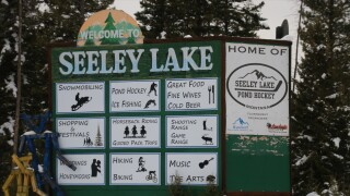 Seeley Lake Sign Winter