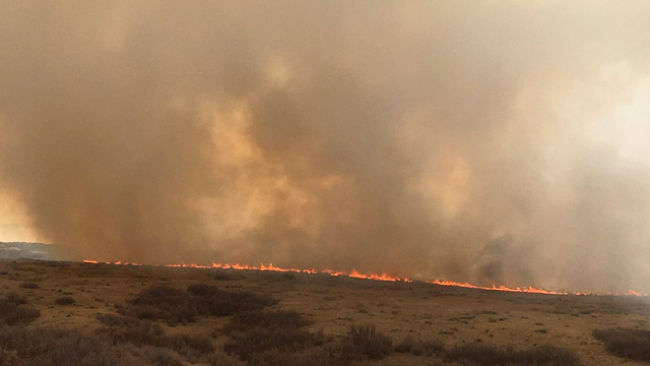 Large brush fire burning near Chatfield