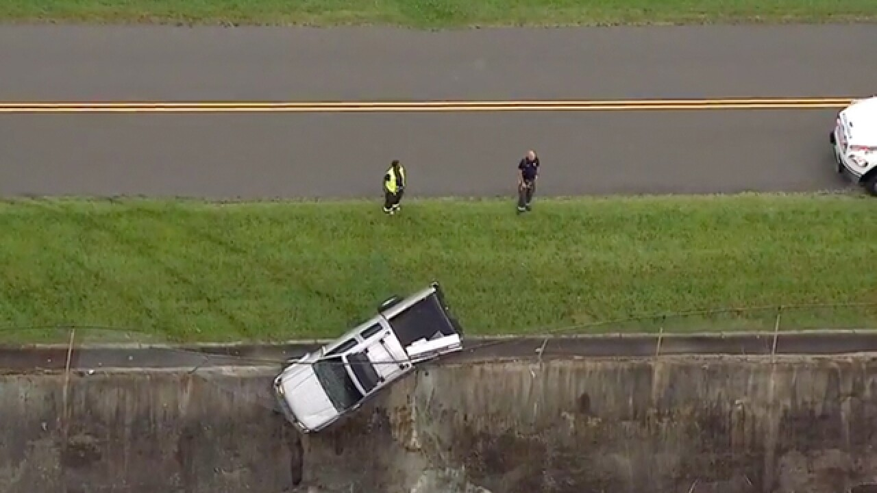 Truck hangs from wall in Nashville