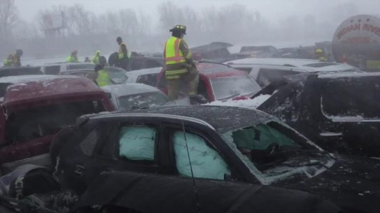 First responder checks out damage after massive pileup on Interstate 41