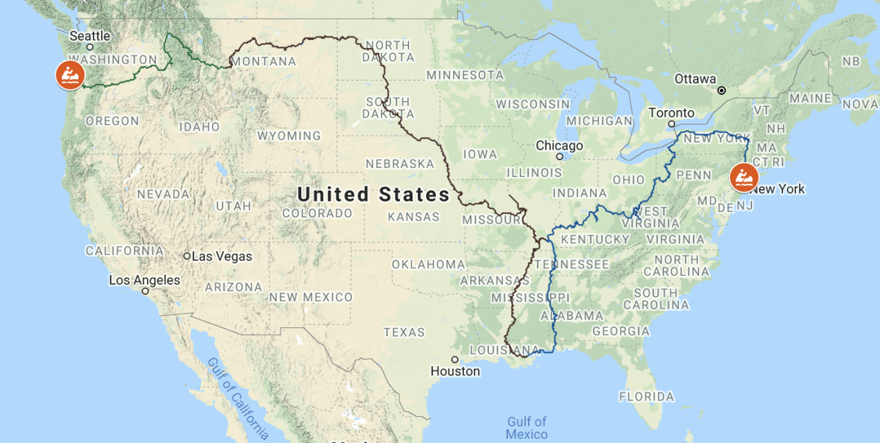 A map of Neal Moore's canoe route across the US.