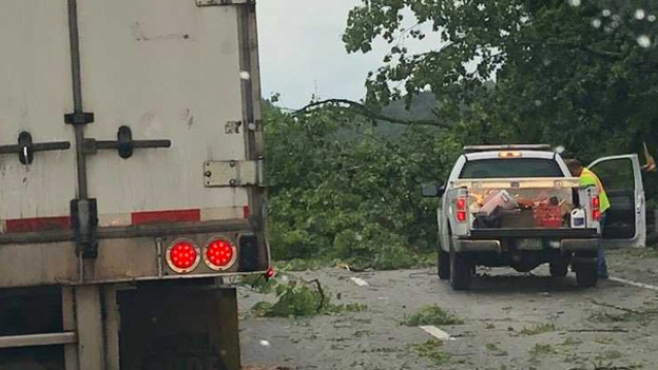 Trees Block I-65 In Giles County After Storm