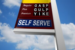 A photo illustration representing price gouging at the gas pump.