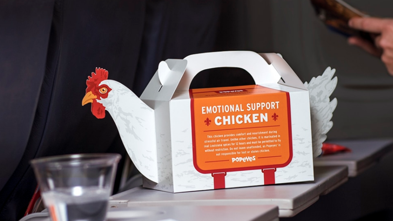 Popeyes at airport selling 'Emotional Support Chicken' meal