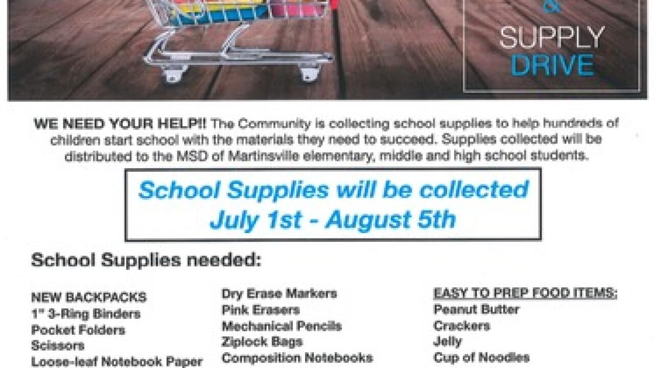 School supplies needed in Martinsville