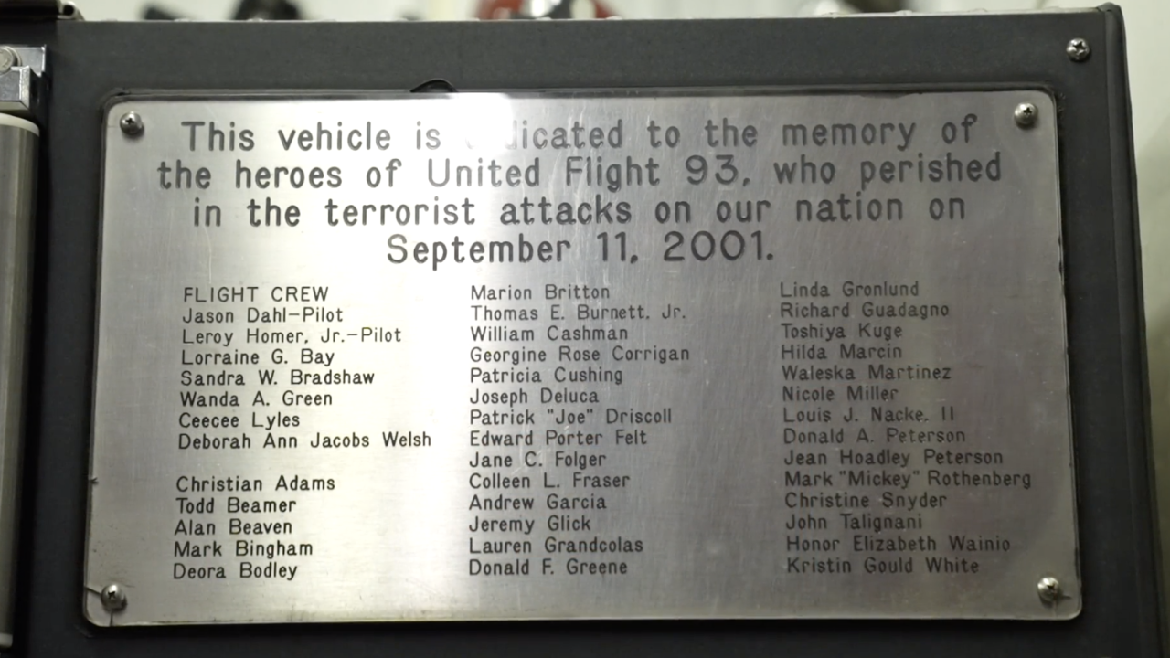 """Affixed to one of the fire trucks at the Shanksville Fire Department is a plaque dedicated """"to the memory of the heroes of United Flight 93."""""""