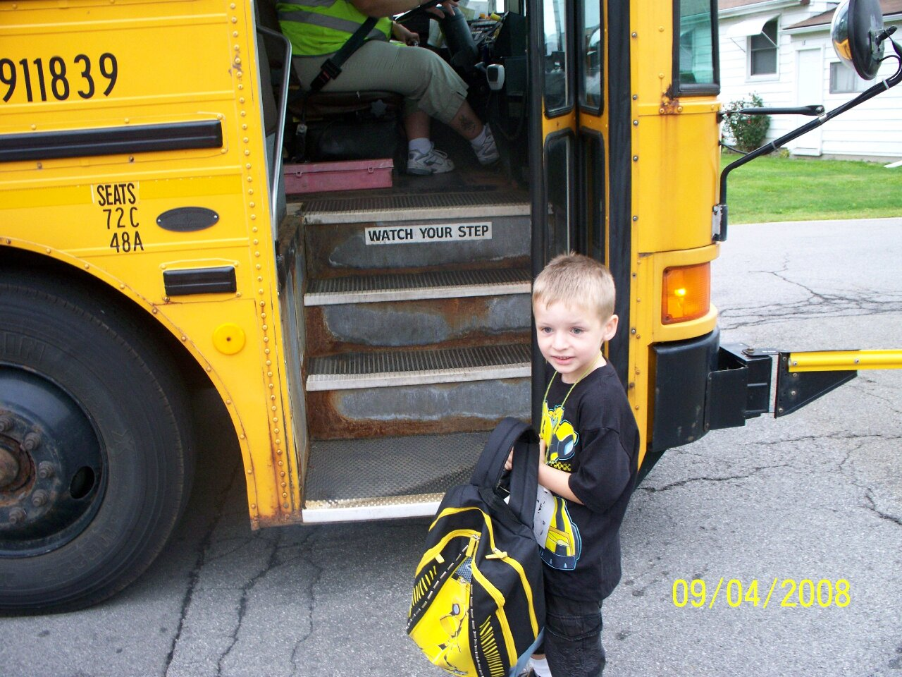 Eggers getting on the bus at age 5