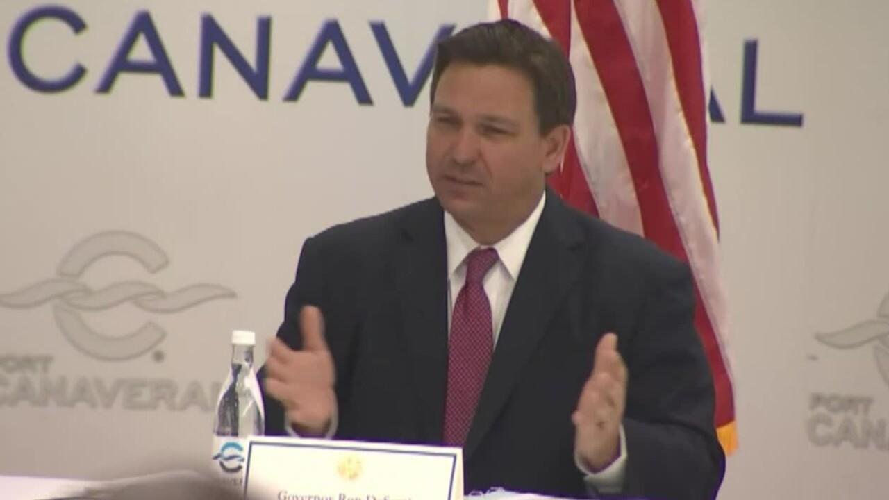 Florida Gov. Ron DeSantis speaks at Port Canaveral on March 26, 2021.jpg