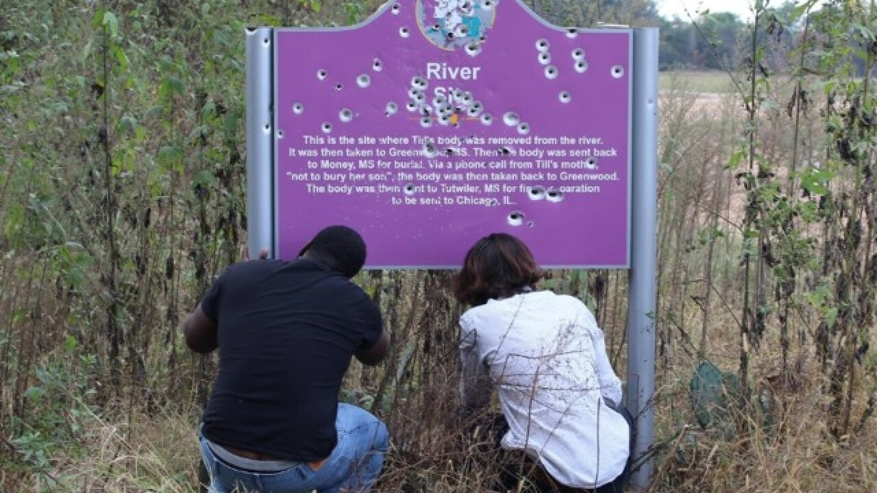 Emmett Till's memorial sign was riddled with bullet holes. 35 days after being replaced, it was shot