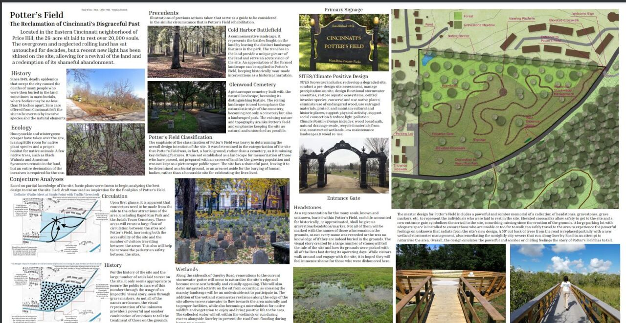 This poster shows some of the ideas that University of Cincinnati students developed for Potter's Field. It includes a map of the site, photos and text to explain the students' concepts.