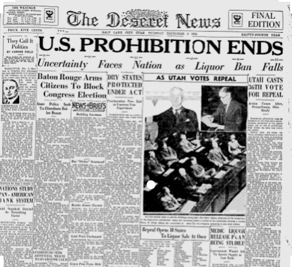 Photos: Utah Booze News podcast: Happy Repeal Day! Utah cast the vote that endedProhibition