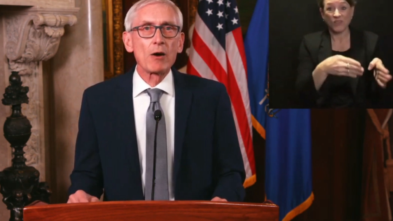Gov. Evers during Tuesday's address.