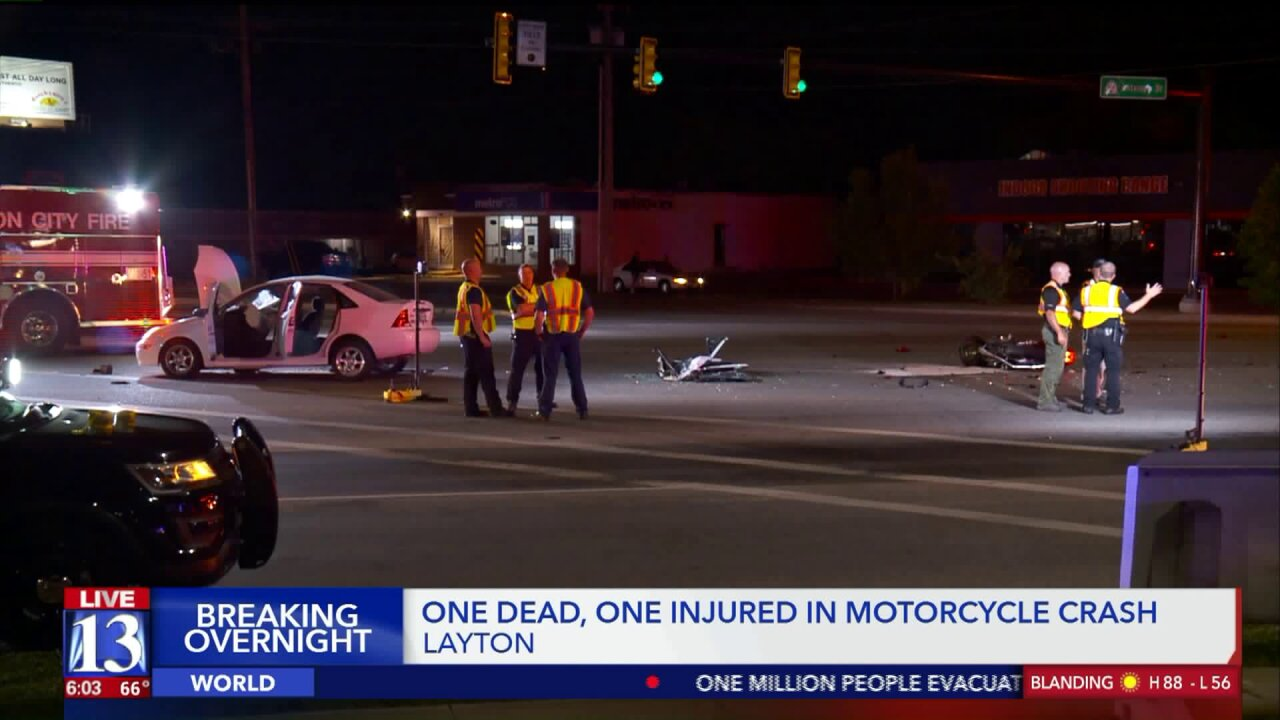 Man dead, woman seriously injured after motorcycle collides with car in Layton