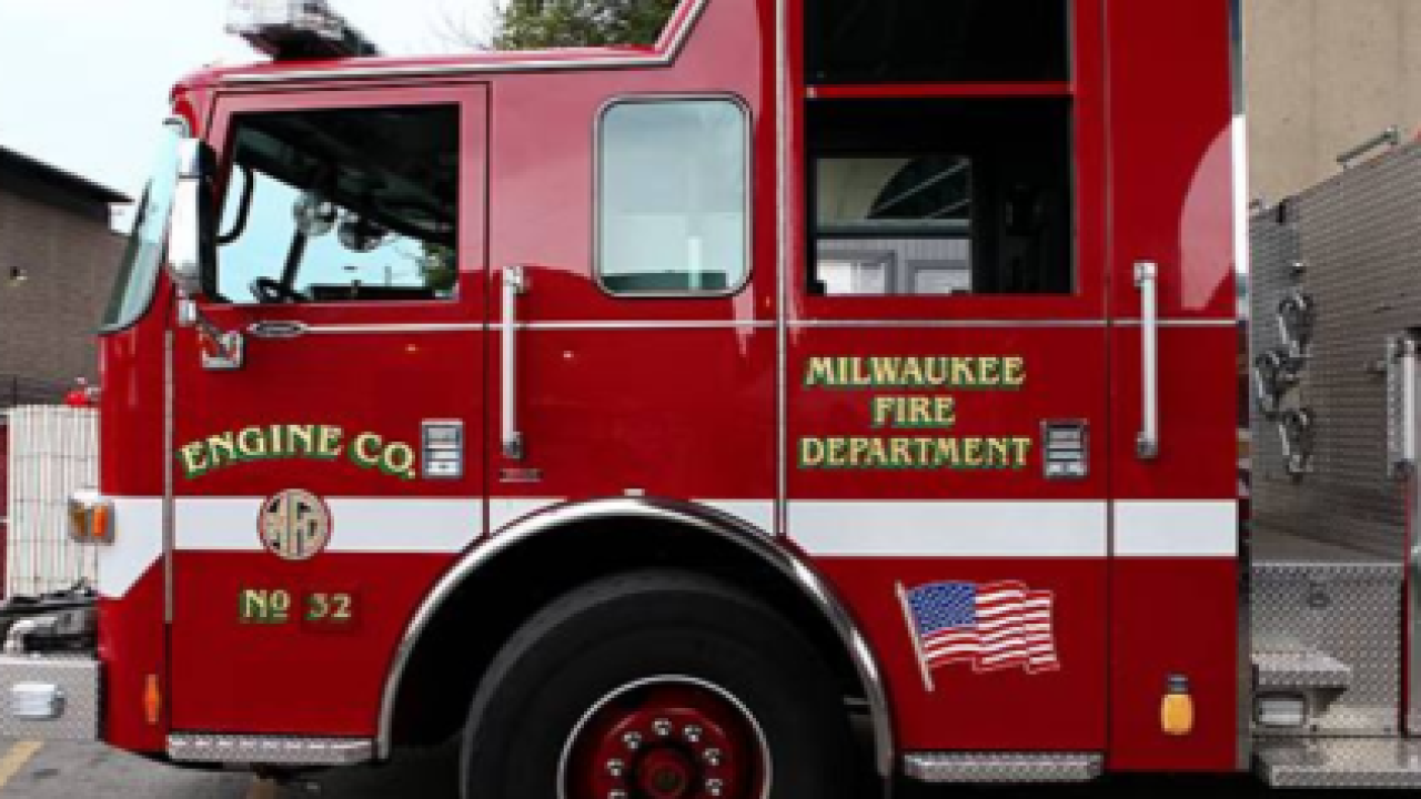 Red MFD truck