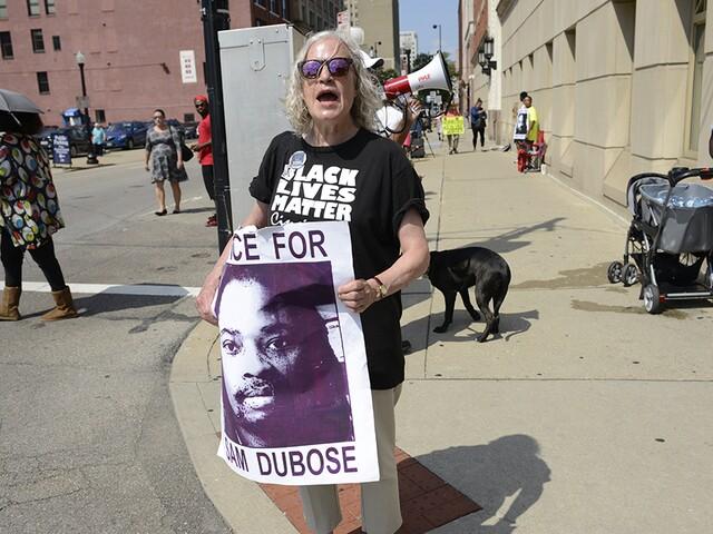 Demonstrators gather for Tensing decision, demand 'Justice for Sam'