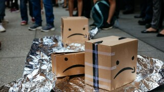 Protestors Rally Against Amazon Workplace Conditions At Jeff Bezos' NYC Apartment