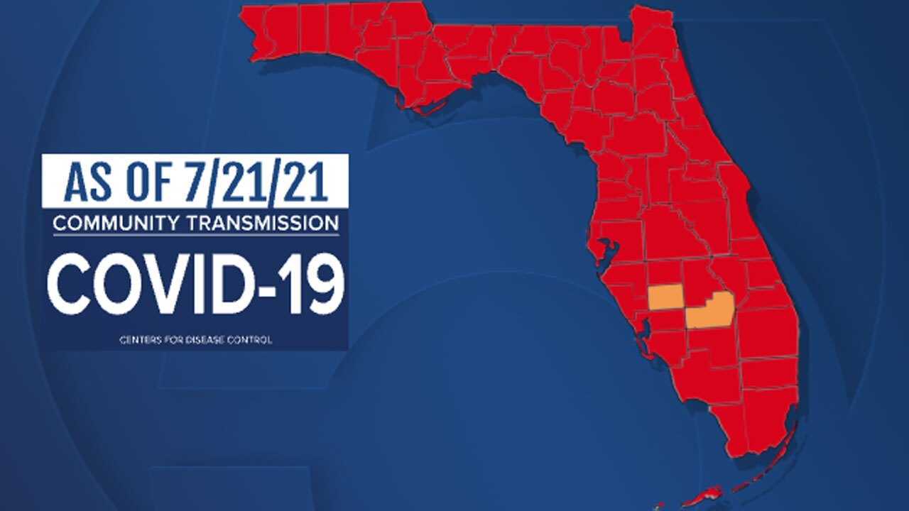 Map High Covid Levels in Florida, July 21, 2021