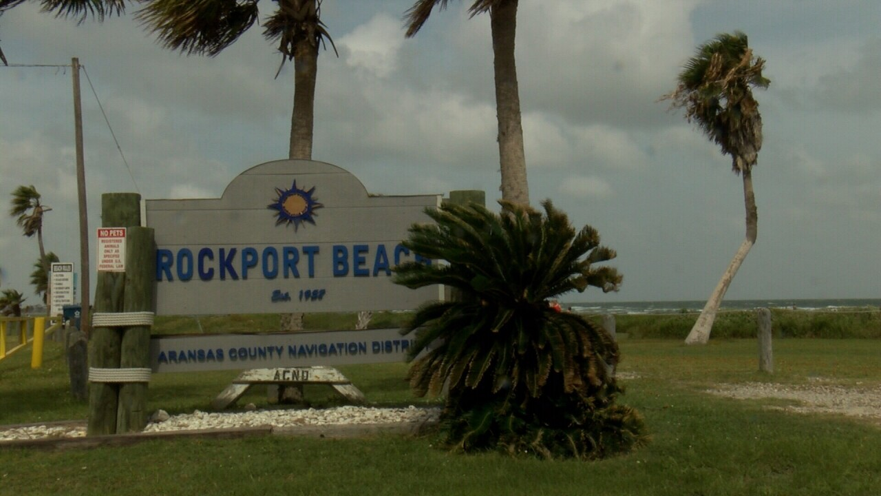 The sign at the entrance to Rockport Beach