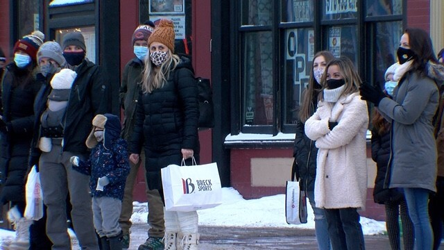 Wearing masks in downtown Breckenridge