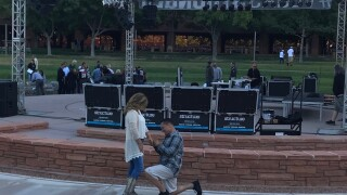 A couple that survived the Las Vegas mass shooting in 2017 decided to mark a new milestone in life by getting engaged