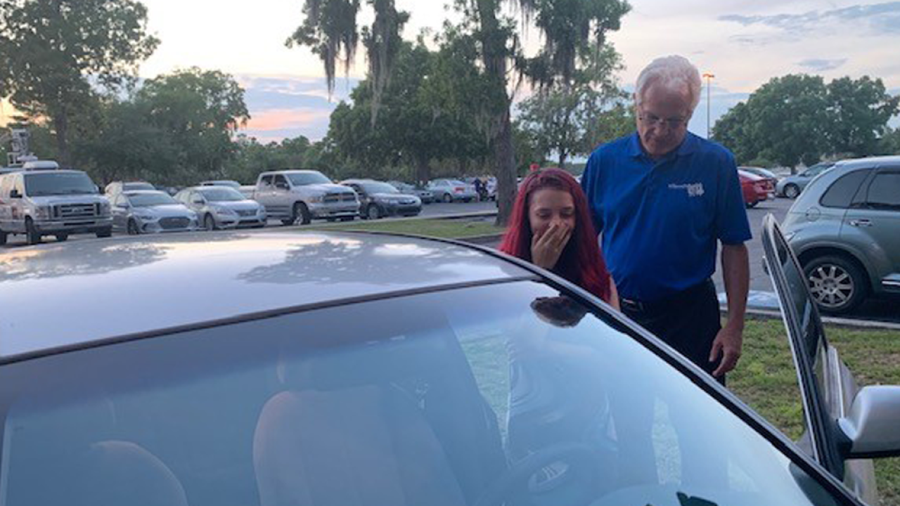 Florida high schooler surprised with car after being on her own since 14