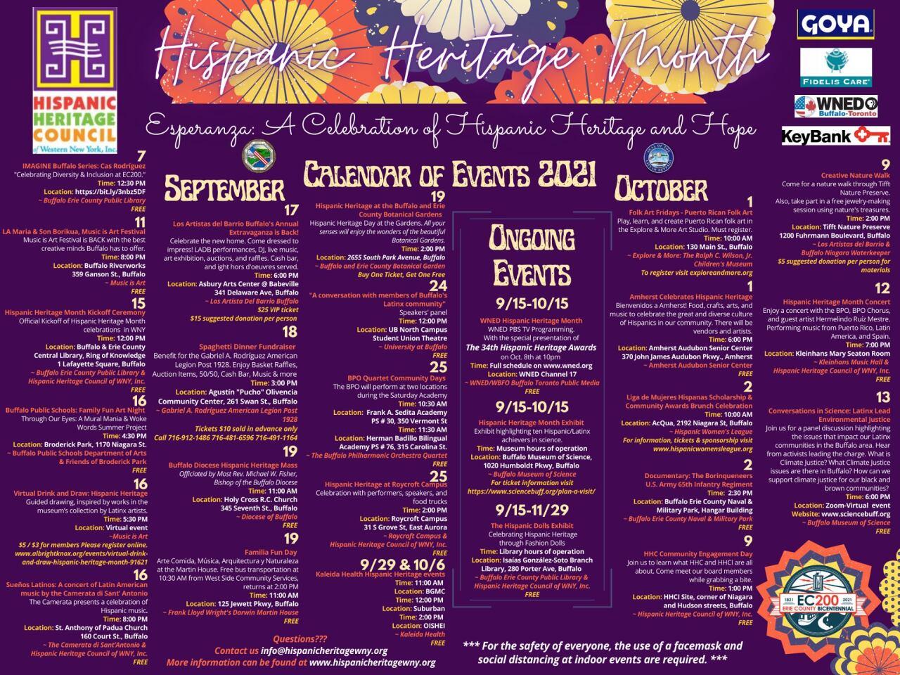 Full list of 2021 Hispanic Heritage Month events