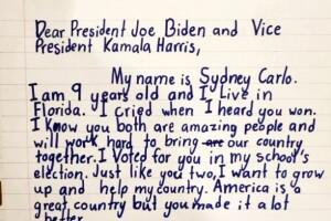 Sydney Carlo's letter to President-elect Joe Biden and Vice President-elect Kamala Harris