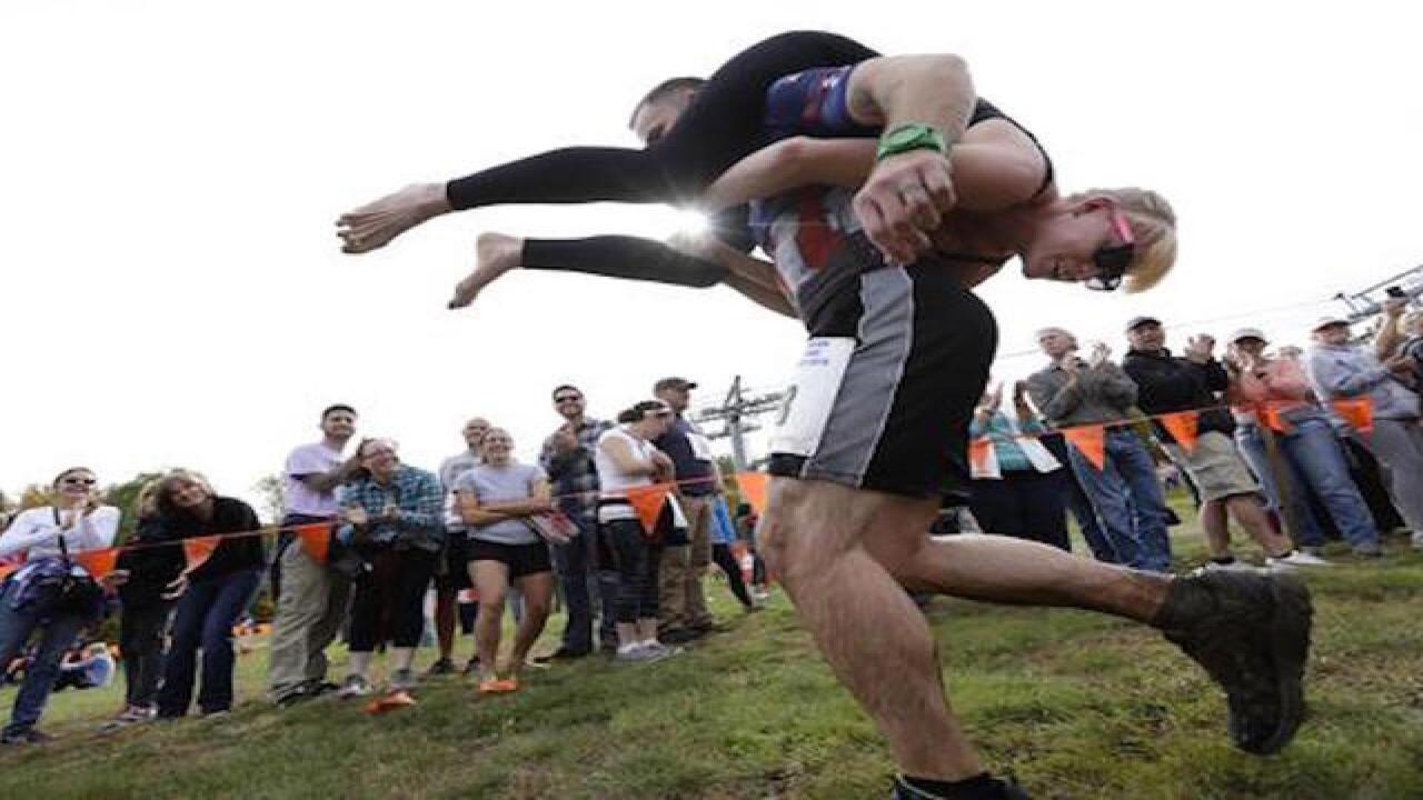 Maine couple wins wife-carrying competition