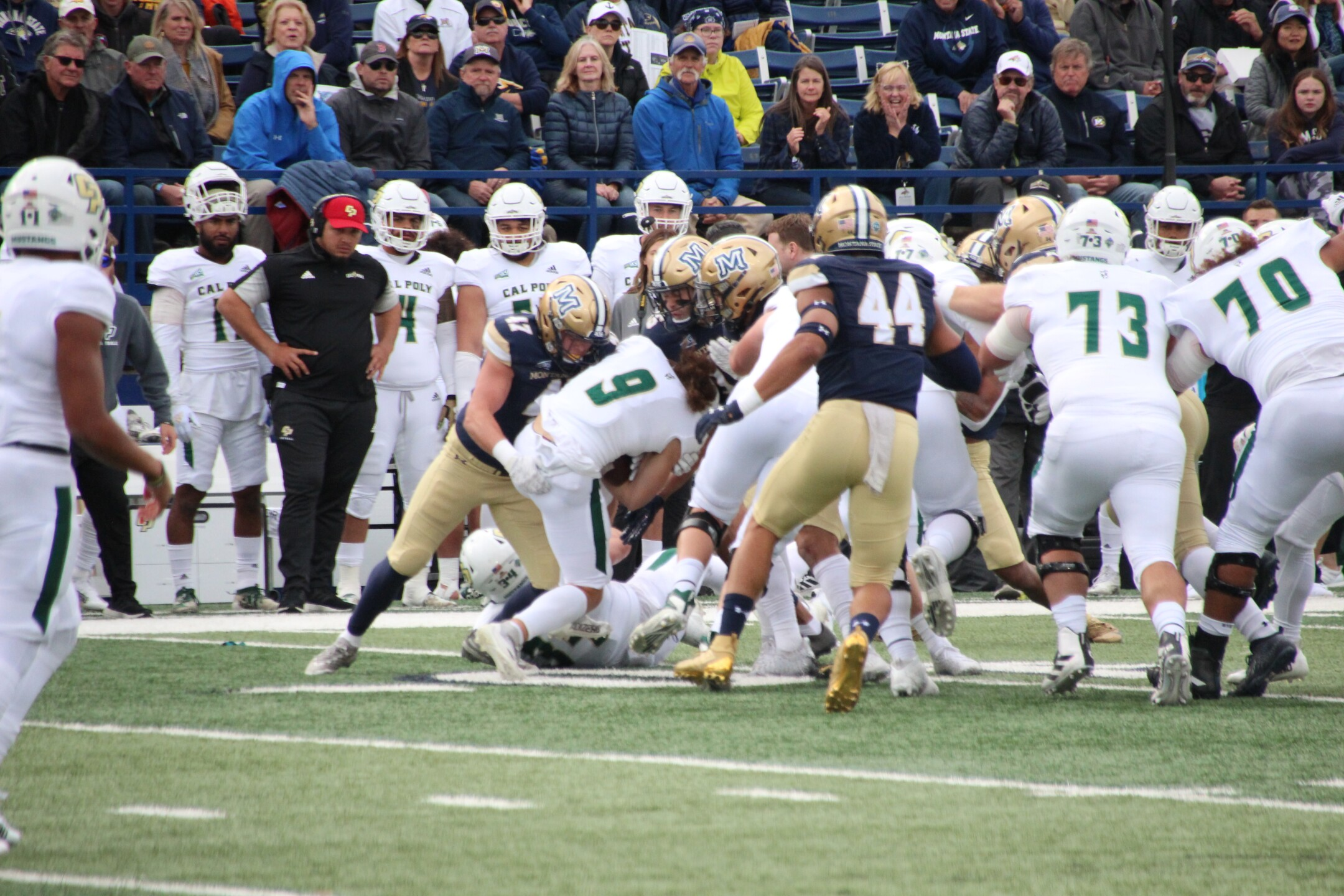 LB Callahan O'Reilly makes a tackle in the first half