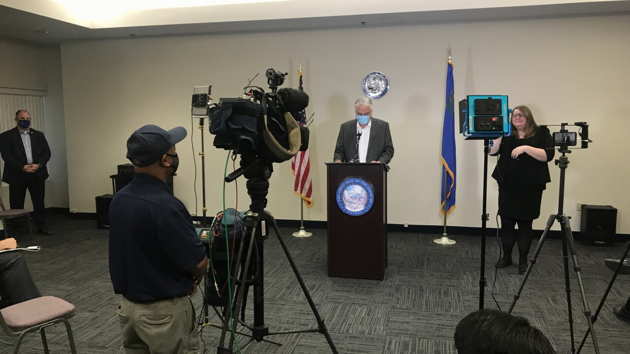 These are photos of a news conference involving Nevada Gov. Steve Sisolak and the on-going COVID-19 pandemic as of Oct. 20, 2020
