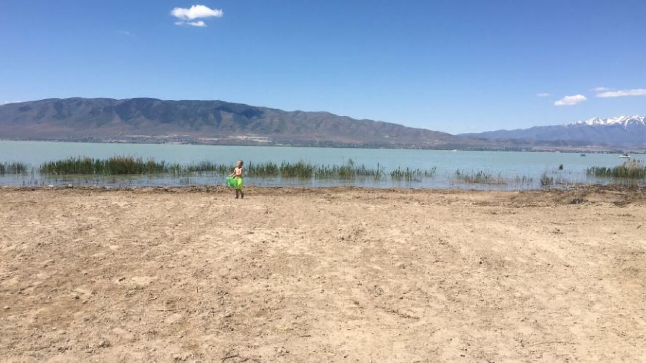 Experts urge visitors to wear life jackets as new sandy beach debuts at Utah Lake