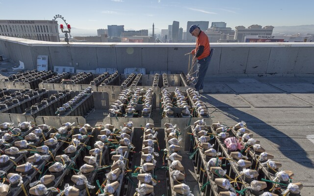 PHOTOS: Setting up the New Year's Eve fireworks on the Las Vegas Strip