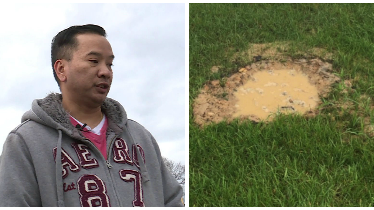 New homeowner wants resolution to fix sinkhole in hisbackyard