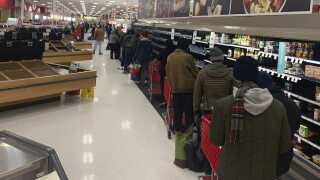 Texas winter weather grocery line