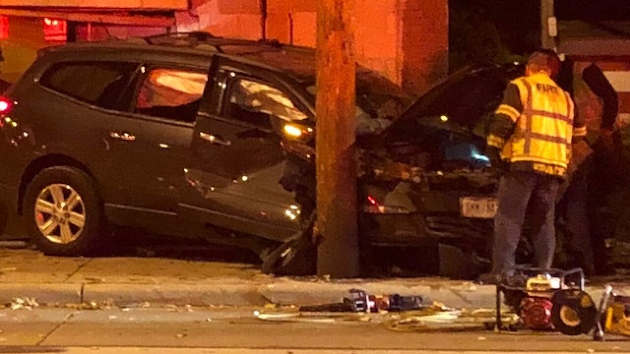 Driver trapped in car after crash