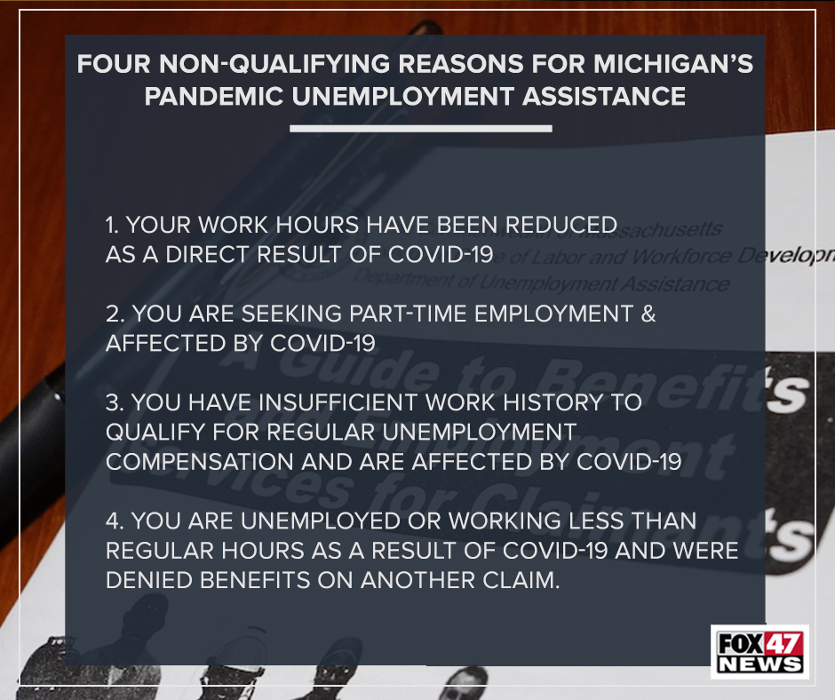 Four non-qualifying reasons for Michigan's pandemic unemployment assistance