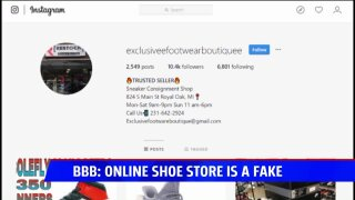 BBB warning about online shoe website